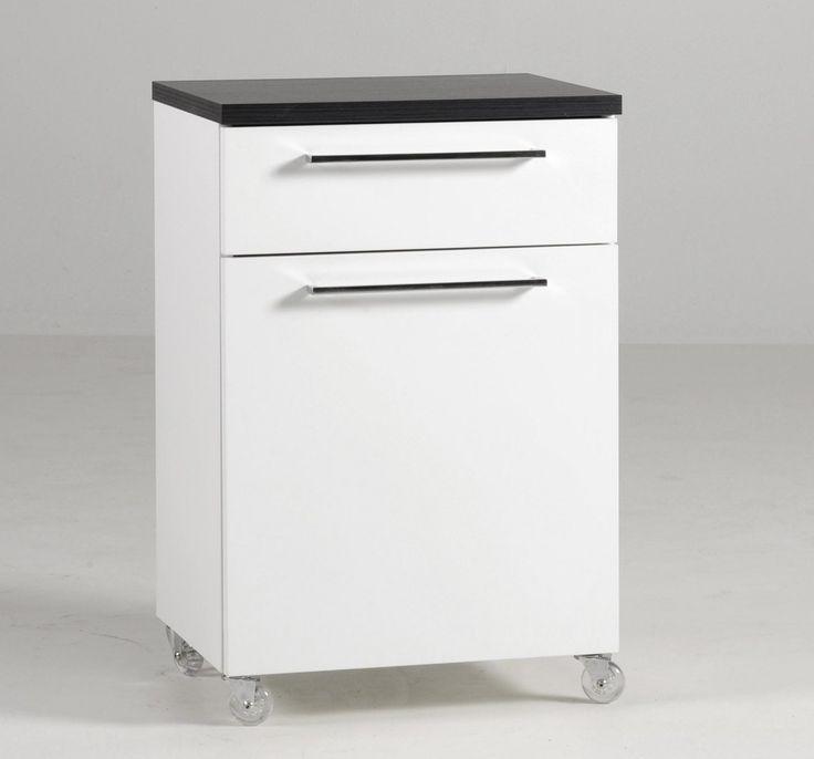 MONACO-laatikosto (ovi+laatikko) pyörillä valkoinen/musta woodline