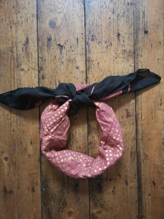 Vintage 70s scarf neckerchief shade chocolate brown gold orange gift presents large square bandana bohemian winter  Dolly Topsy Etsy UK