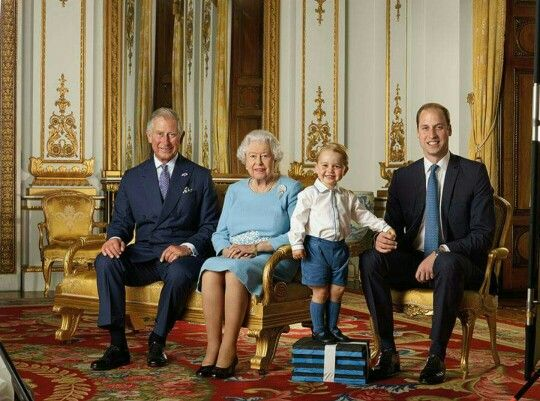 Queen Elizabeth II, Prince Charles, Prince William and Prince George. Happy Birthday Your Majesty .. 90 th. 21 april 2016