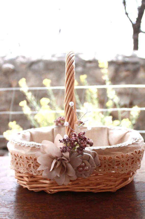 Rustic Flower Girl Basket Dusty rose with by BurlapandButter