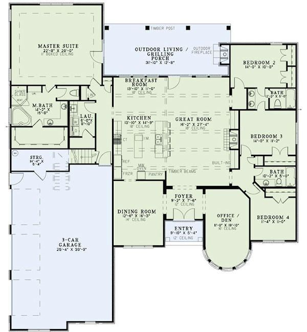 Best 25 4 bedroom house plans ideas on pinterest for 3 bedroom with office house plans