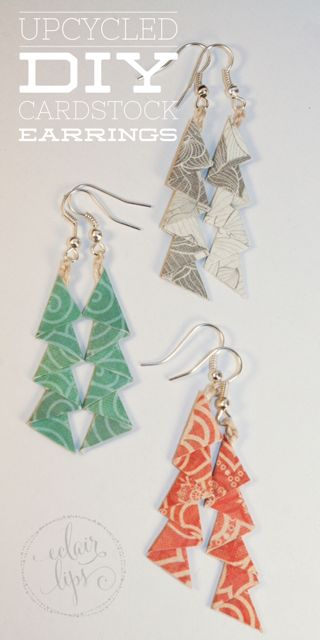 What a great idea! Recycle pretty bits of scrapbook paper and cardstock into earrings to match your outfit!