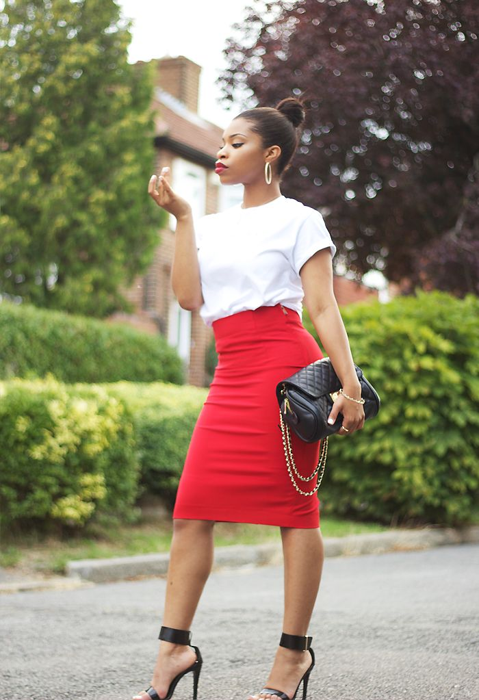 Zara high waisted pencil skirt, Michael Agwunobi tee, Zara ankle strap sandals, TOPSHOP bag, H&M Jewellery