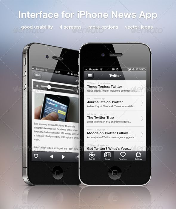 Interface for iPhone News App - #User #Interfaces #Web Elements Download here:  https://graphicriver.net/item/interface-for-iphone-news-app/2418437?ref=alena994