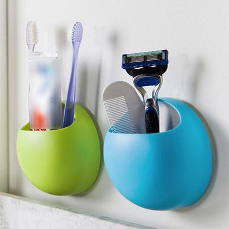 かわいい歯ブラシホルダー吸引フックカップオーガナイザー浴室付属品歯ブラシホルダーカップ壁マウントセット浴室吸盤