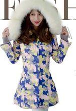 Новый 2016 зимняя куртка пальто девушки, Утолщаются теплый-20 ниже нуля мода камуфляж Имитация меха лисы воротник downjacket и пальто.(China (Mainland))