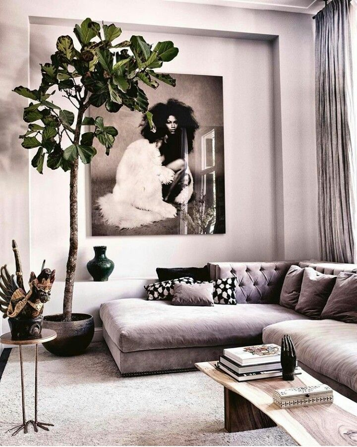 Love indoor house plants and the contemporary vibe this living room has.