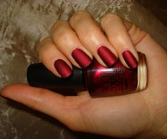 OPI - Matte Silk Red. I'm not a fan of matte nail polish but I love how satiny this looks.