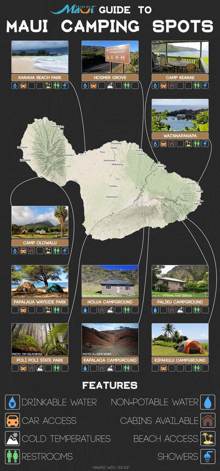 A Complete List of Maui Camping Spots: http://www.prideofmaui.com/blog/maui/complete-list-maui-camping-spots.html