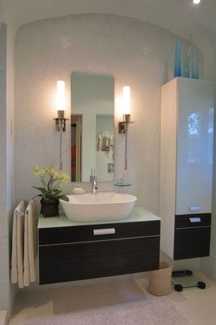 Modern Full Bathroom with European Cabinets, Flush, Chrome sheven single hole vessel bathroom faucet, Frosted glass counter