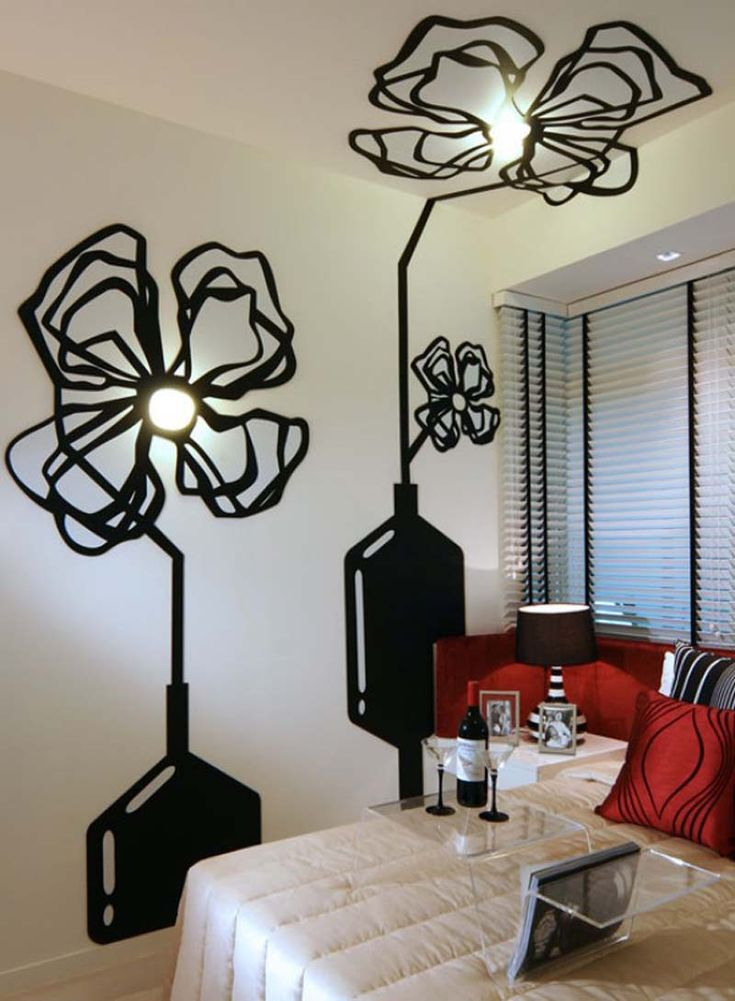 creative decorative idea wall decoration with beautiful black flowers - Decorative Wall Painting Ideas For Bedroom