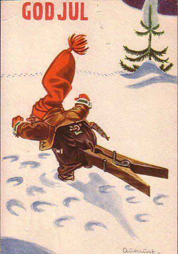 Christmascard - Artist: Kjell Aukrust - Pinned from https://www.facebook.com/DetGamleNorge?fref=photo