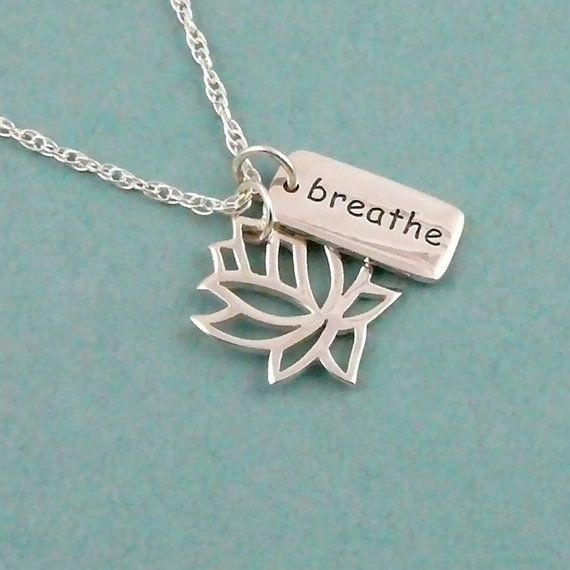 Yoga Jewelry Lotus Breathe Necklace Lotus Charm by TheZenMuse, $37.00