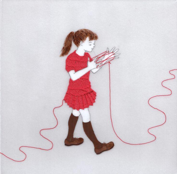 『誰かにつながる赤い糸 12』(シリーズ作品) アクリル絵具・トレーシングペーパー 15cm×15cm
