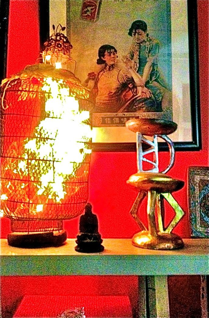 Deconstructed Chinese Lantern and Vintage Advertisemet