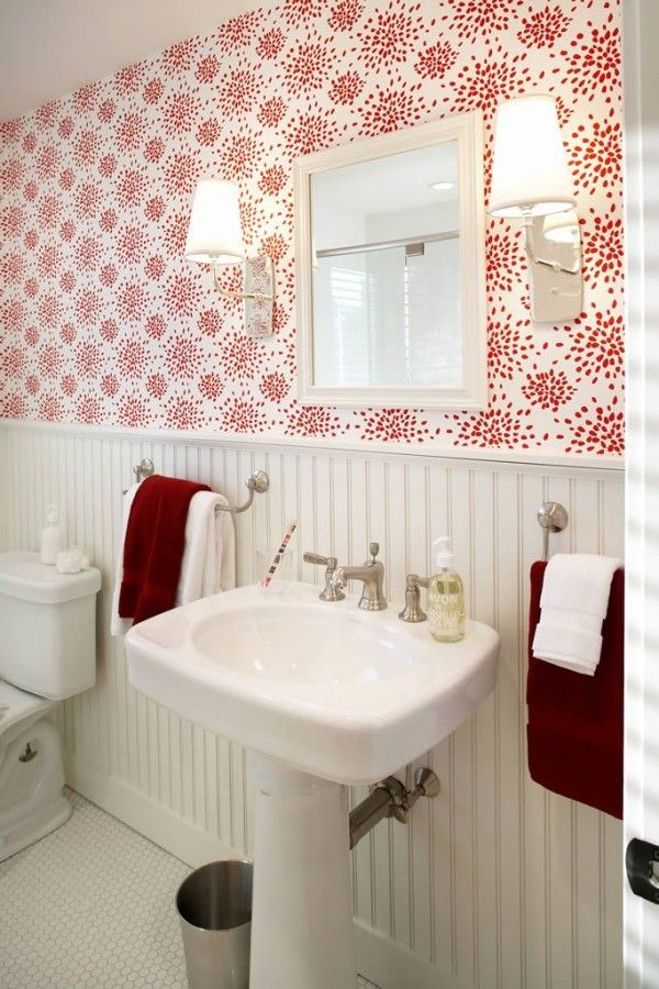 Red and White Wallpaper in the Bathroom - Terrat Elms - Marblehead Residence  pretty paper!