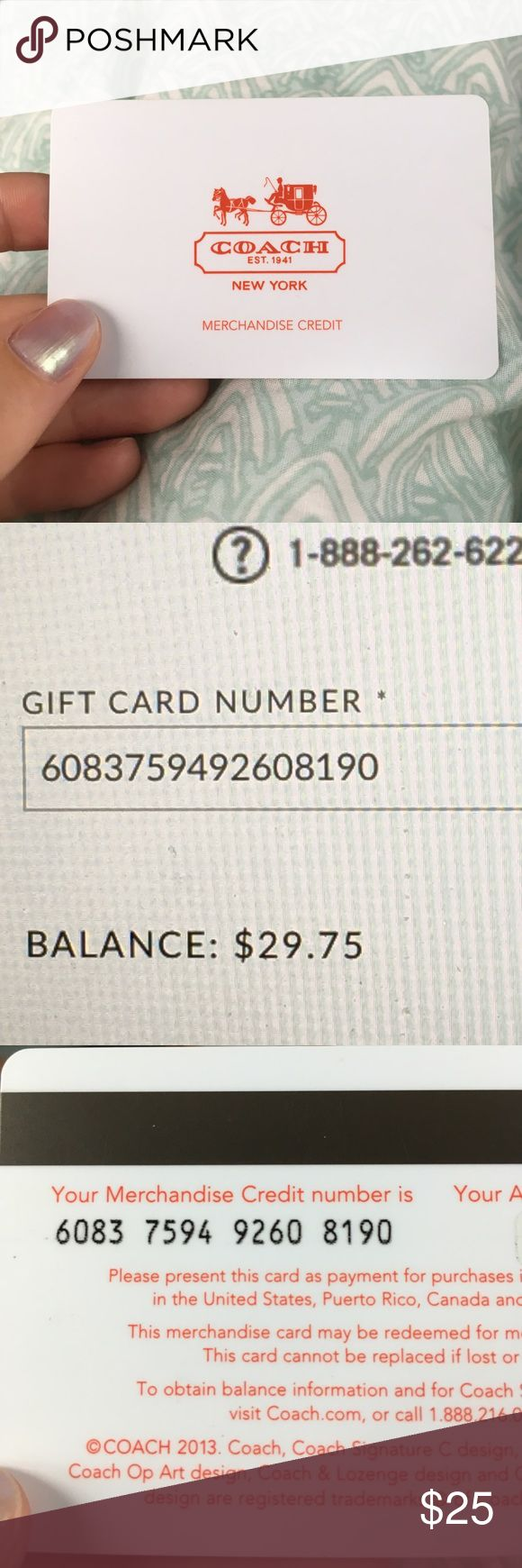 Coach Gift Card Balance: $29.75 Coach Gift Card Balance: $29.75 Coach Other