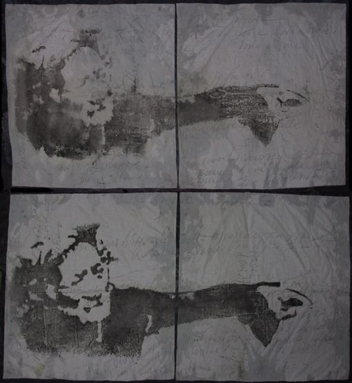 """autore: Francesca Scammacca - """"C'è questo in me"""" - acrilici e grafite su 4 tele - cm 110x120 circa - 2001"""