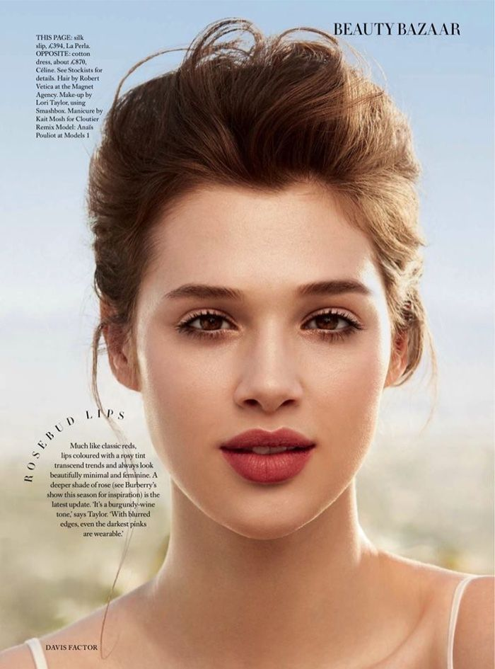 Ania Pouliot wear a dark pink lipstick shade is perfect for a summer makeup look for Harper's Bazaar UK Magazine June 2016 issue