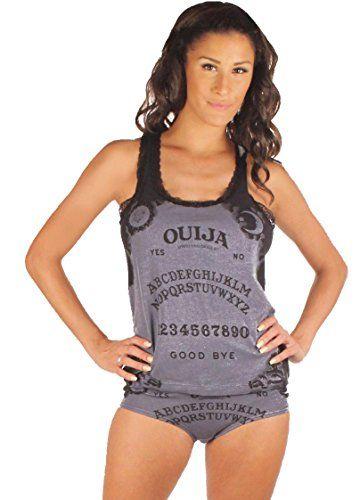81edecde09e6 ITAYAX Womens Ladies Ouija Board Grey Tank Top and Panty Sleep Lounge Set  (See More Sizes)