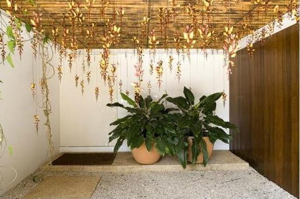 Brasília: Isay Weinfeld. Entrada da Casa com Pergolado, Trepadeiras, Madeira e Pedriscos