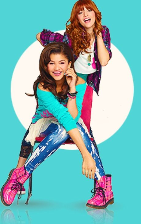 Bella Throne and Zendaya in Shake it up. Bella plays Cece and Zendaya is Rocky.