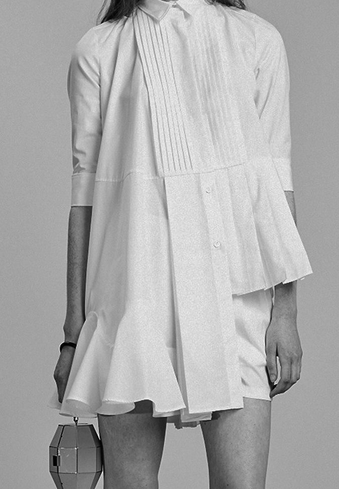 White Shirt Dress with pleats & frills; pattern cutting; deconstructed fashion details // Viktor & Rolf Resort 2014