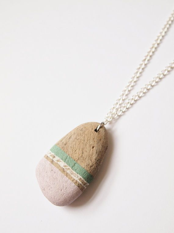 Romantic Driftwood Necklace Dusky Pink & Aqua by Gx2homegrown