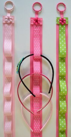 Ribbon Headband Holders~These are adorable~I could make them with totally different ribbon styles to match your home, or bathroom, or bedroom decor. Not just for little girls~there is so many things you could hang on them too~