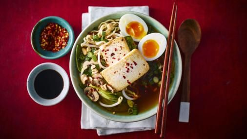Serve the family something different for dinner: a rich miso and mushroom broth with golden tofu and soft-boiled eggs.  This meal provides 550 kcal, 33g protein, 45g carbohydrate (of which 4.5g sugars), 27g fat (of which 5.7g saturates), 6g fibre and 4g salt per portion.