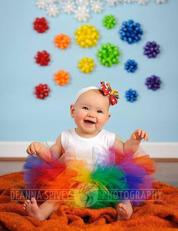 Tutú del arco iris bebé Tutu y diadema circo tutú Prop