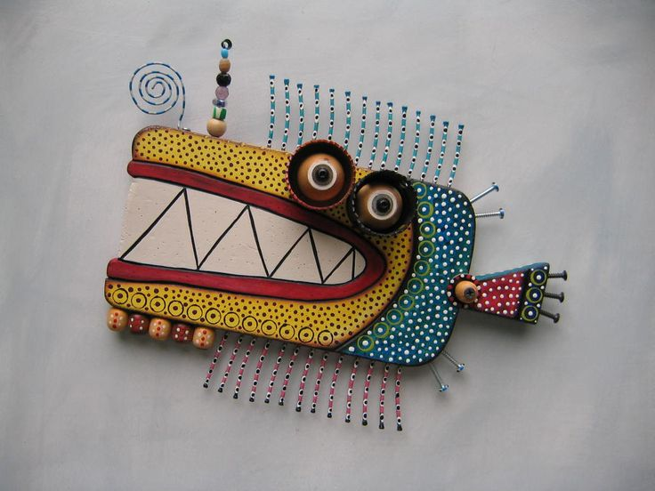 Twisted Fish 138, Original Found Object Sculpture, Wood Carving, Wall Art, by Fig Jam Studio. $125,00, via Etsy.