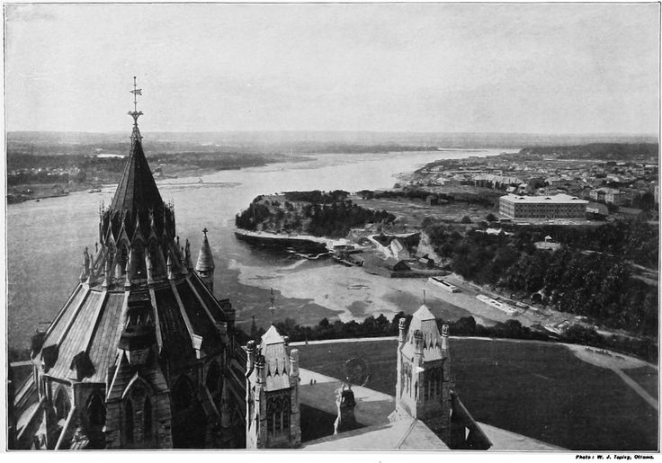 Nepean Point, Ottawa River 1897-1899. (3225×2257)  The Library of Parliament, the Ottawa River, Nepean Point and the entrance to the Rideau Canal, as seen from the Victoria Tower of the Original Centre Block (1859-1916).