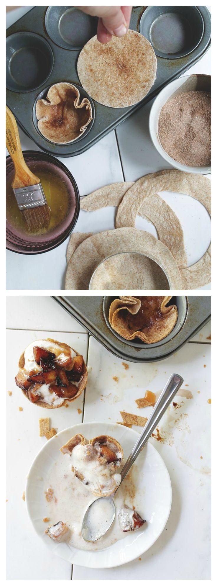 Apple Pie a la Mode in Cinnamon Tortilla Cups | www.diethood.com | Quick, easy, and delicious!!