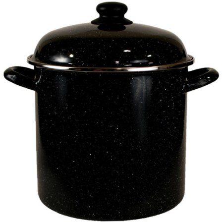 Granite Ware Heavy Gauge 8-Quart Stock Pot with Steel Rim, Stainless Steel, Black