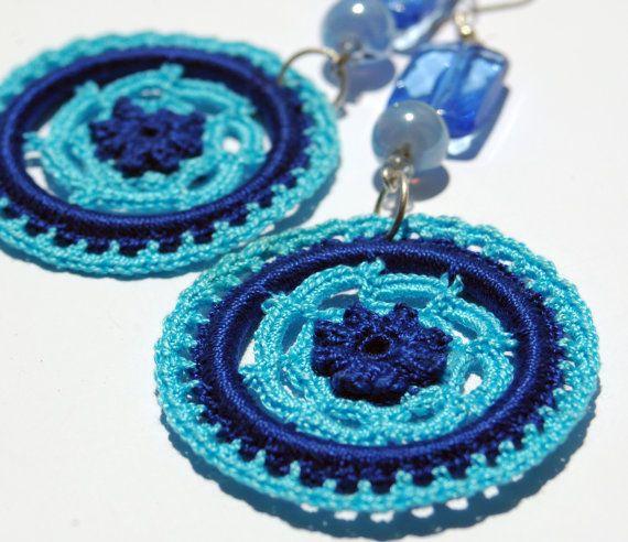 Crocheted  Earrings in Two Shades of Blue -Crochet jewelry - Fashion crochet - Round earrings