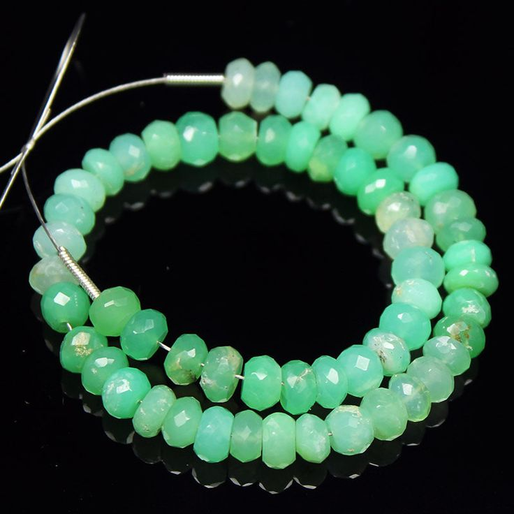 Natural Green Chrysoprase Faceted Rondelle Beads Strand – Jewels Exports
