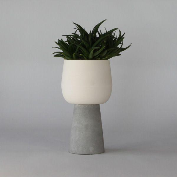 SC40-ceramic and concrete pot - White matte ceramic + grey matte concrete vase + pot. High quality handmade objects Designed+Made by Decovery | Essential Details.