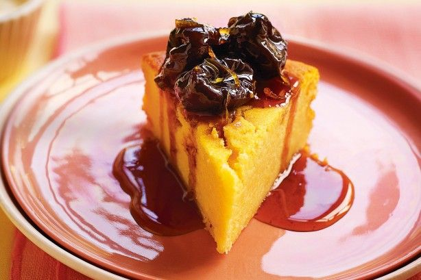 The yoghurt gives this cake a dense, moist crumb. Serve still warm from the oven as a pud, drenched in a sticky syrup with the prunes, or cool and serve as a cake, scattered with rose petals.