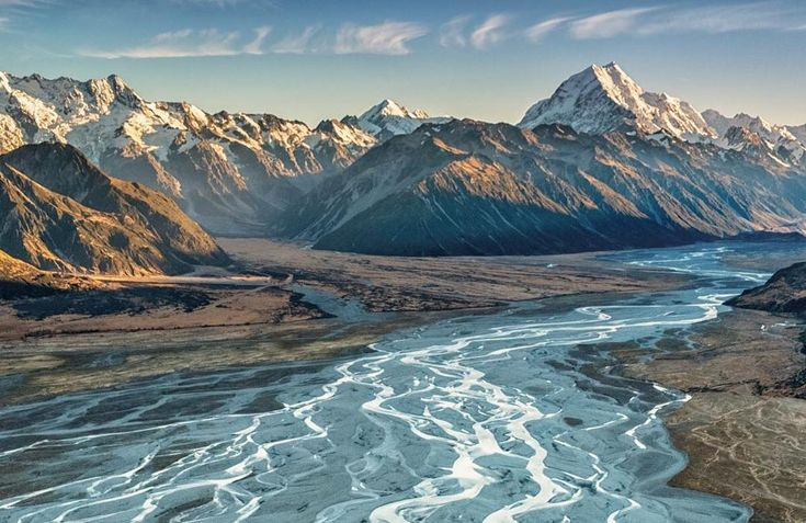 """Tasman River, New Zealand from Images Abound Photography (@imagesabound) on Instagram: """"Freezing cold in a doors-off helicopter, icy wind screaming through the cockpit, but worth it #landscapephotographyNZ #tasmanriverNZ #googleguides"""