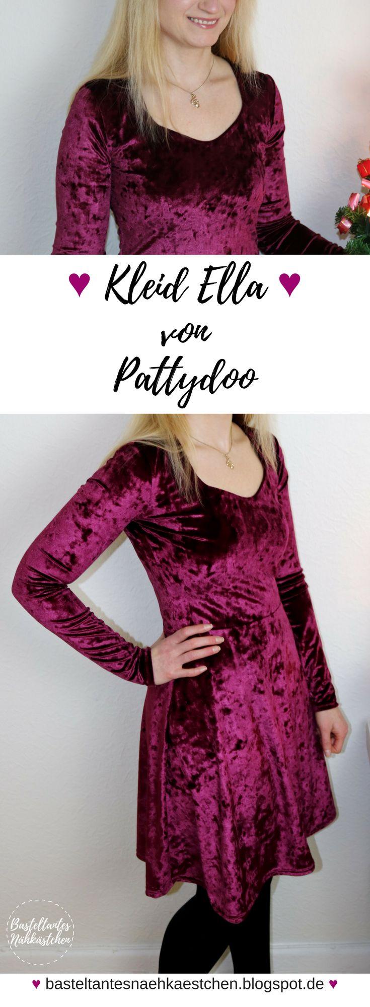 Kleid Ella Schnittmuster von Pattydoo aus Nicki Bordeaux glänzend genäht von Basteltantes Nähkästchen - selbst genähte Mode für Frauen - DIY Sewing
