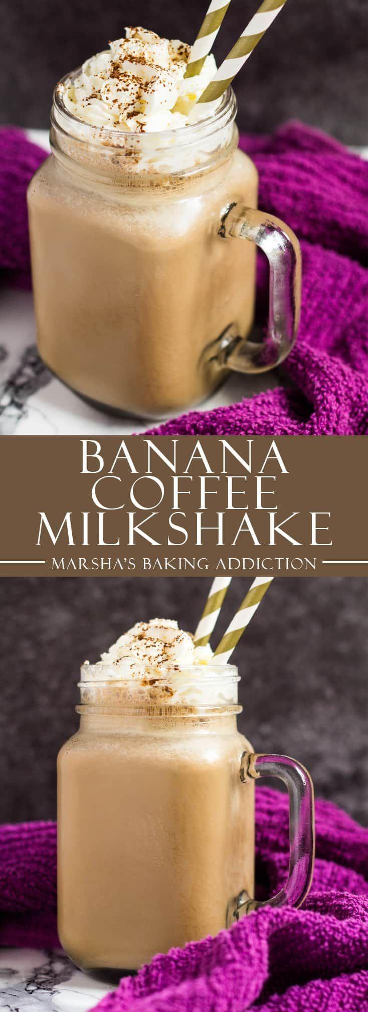 Banana Coffee Milkshake- Wonderfully creamy banana milkshake that is infused with coffee. Indulgent drink for coffee lovers!   marshasbakingaddiction.com   @marshasbakeblog #banana #coffee #milkshake #recipe