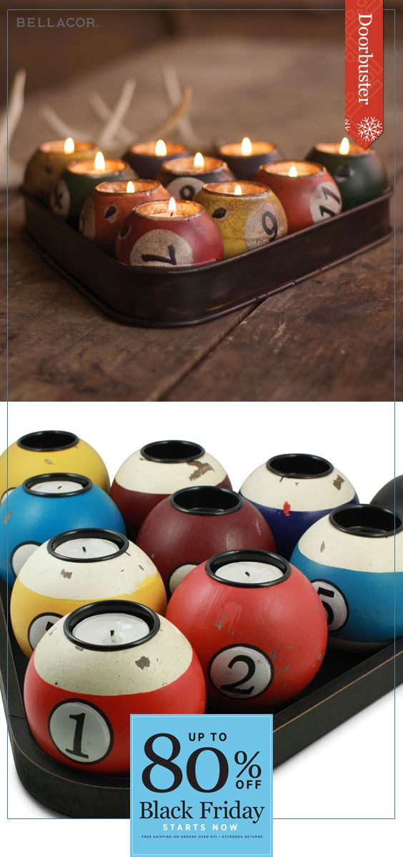 Cyber Monday Deals continue! Surprise your guests and friends with a cheeky yet attractive accessory, the Kalalou Multi-Colored Tin Pool Ball Candle Holder Set. With a rustic and lodge based style it evokes the joyous vibes of a pool table or family room. Enjoy doorbuster savings during the following dates: 11/18 - 11/28.  Sign up for our newsletter and save 15% today! A one time 15% offer promo code valid for 30 days.