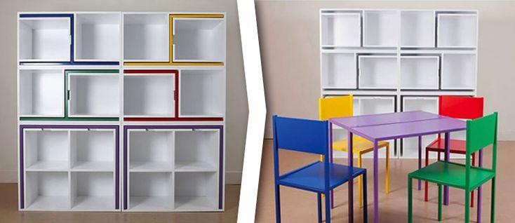 Gagner de la place avec cette étagère qui cache une table et des chaises