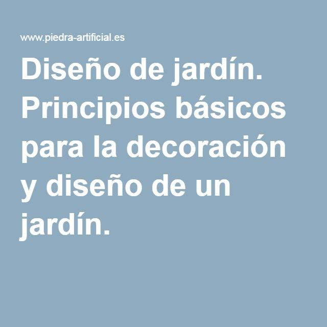 Dise o de jard n principios b sicos para la decoraci n y - Diseno de un jardin ...