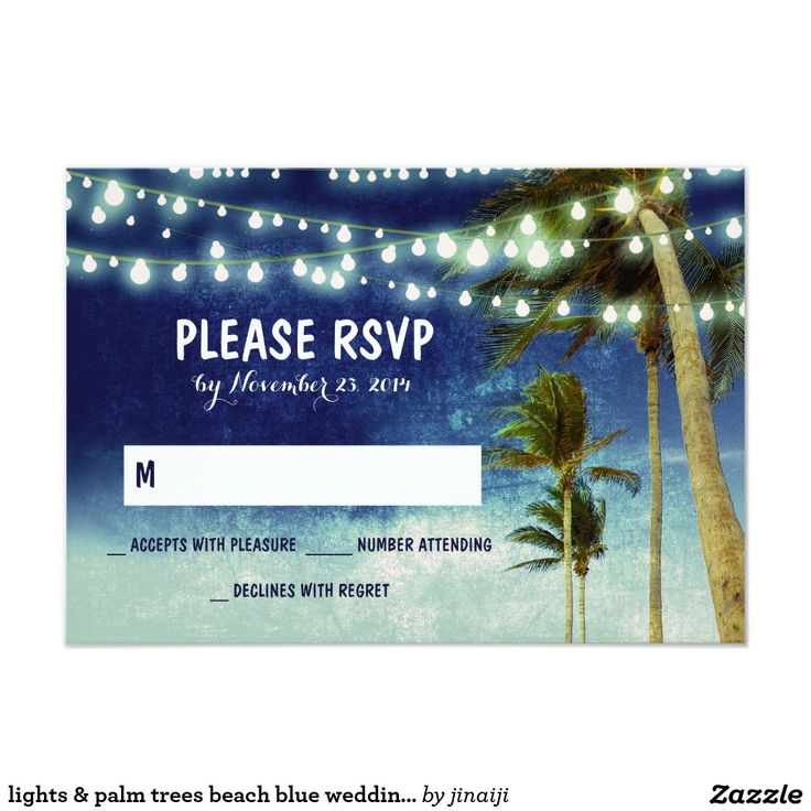 lights & palm trees beach blue wedding RSVP cards Beach wedding RSVP cards with string of lights hanging on the tropical palm trees on the beach.Navy / royal blue ombre wedding reply cards. ------------Please contact me if you need help with customization or have a custom color request. ---------- If you push CUSTOMIZE IT button you will be able to change the font style, color, size, move it etc. it will give you more options!