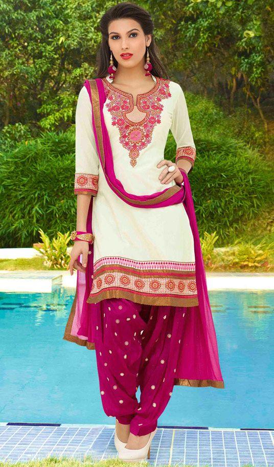 USD 32.90 White Cotton Punjabi Suit 48420