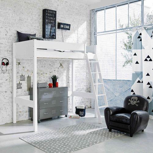 £449.00 White wooden loft bed 90 x 190 cm