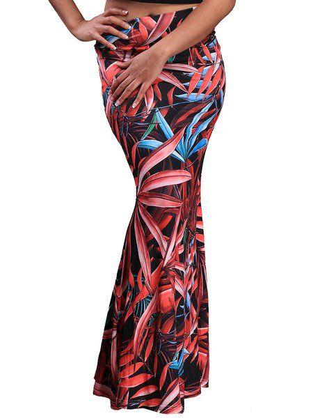 Shop Skirts - Crimson Flounce Printed Boho Polyester Skirt online. Discover unique designers fashion at JustFashionNow.com.
