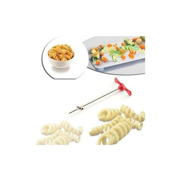 Manual Potato Radish Spiral Cutter Roller Fruits Spiral Slicer... ($3.78) ❤ liked on Polyvore featuring home, kitchen & dining, kitchen gadgets & tools, white, spiral potato cutter, spiral potato slicer, spiral slicer, spiral cutter and vegetable spiral cutter
